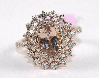 Fine Oval Cut Pink Morganite Lady's Ring w/Diamond Halo 14k Rose Gold 2.62Ct