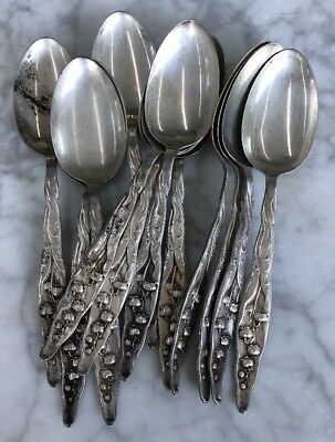 Antique Vtg Whiting Lily Of The Valley Set of 12 Sterling Silver Spoons 181.5g