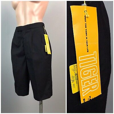 Vintage NOS 1950s 1960s Black High Waist Cotton Bermuda Short Shorts Unworn XS
