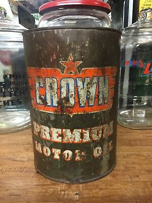 VINTAGE CROWN MOTOR OIL 1 GALLON CAN Sign Standard Sinclair Mobil Esso Shell Stp
