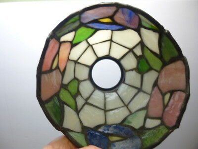 "Stunning 4 5/8"" BLUE~PINK PANSY Stained Glass FLOWER Lamp Shade TIFFANY STYLE 2!"