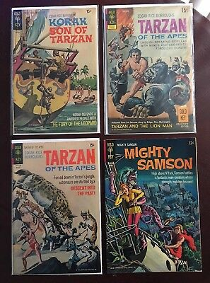 Gold Key TARZAN #202 #206 KORAK #45 MIGHTY SAMSON #5 Comics Lot