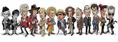 DR Who Cast Cartoon Tom Baker, William Hartnell Bumper Sticker or Fridge Magnet