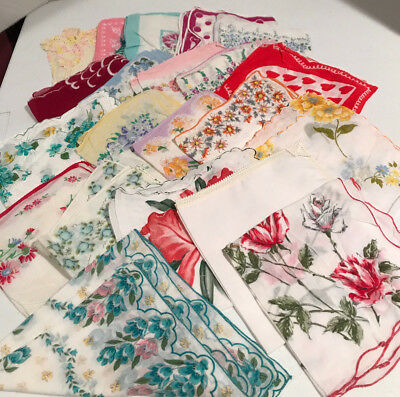 Lot of 21 Vintage Ladies Handkerchiefs Assorted Prints Lot #3