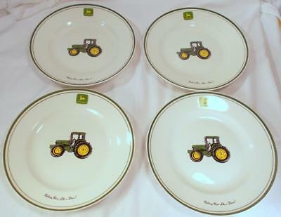 """John Deere by Gibson Tractor Green Dinner Plates - 11 3/8"""" Set of 4"""