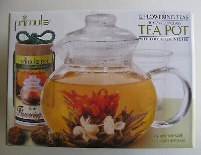 PRIMULA 12 Flowering Teas with 40 oz Glass Tea Pot and Loose Tea Infuser