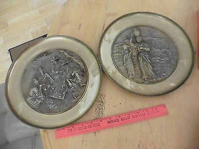 "2 Vintage 3D 11"" Solid Brass Wall Hanging Plate Repousse Korea Men playing game"