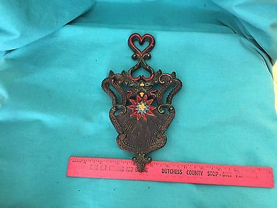 Vintage Cast Iron Trivet Iron Holder Red Painted Hearts Victorian Style Footed