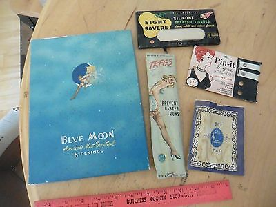Lot of Vintage Vanity Collectible advertising Blue moon stockings Tregs Pin-it +