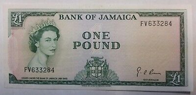Jamaica pound 1960 banknote world paper money XF or better