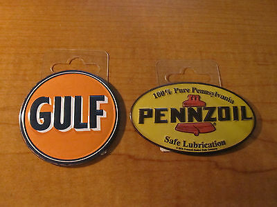 (2) GULF Service Station Gas Oil & PENNZOIL Emblem Garage Metal Toolbox Magnets