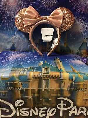 Disney Parks Rose Gold Sequin Minnie Mouse Ears Headband in Hand