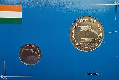 INDIAN AIR FORCE 75 YEARS Platinum Jubilee ( 1932 - 2007 ) SILVER PROOF SET.