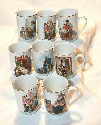 Collector's Set 8 Vintage Norman Rockwell Museum Porcelain Cups Or Mugs  1982