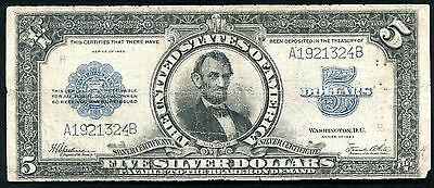 """Fr. 282 1923 $5 Five Dollars """"Porthole"""" Silver Certificate Currency Note"""