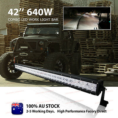 "CREE 640W 42"" LED Combo Work Light Bar Driving Offroad Lamp 4WD Fit Pickup Truck"
