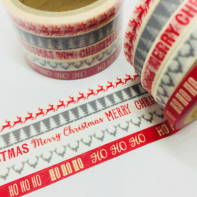 Washi Tape Thin Skinny 5 Piece Set Christmas 6Mm Wide X 5Mt Planner Craft Wrap