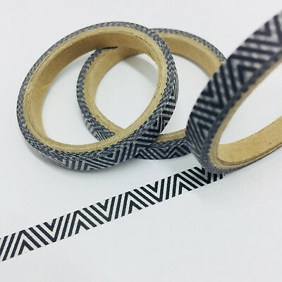 Washi Tape Thin Skinny Black Zigzag 6Mm Wide X 5Mtrs Planner Craft Wrap Scrap