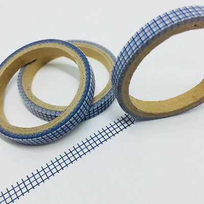 Washi Tape Thin Skinny Blue Grid 6Mm Wide X 5Mtrs Planner Craft Wrap Scrap