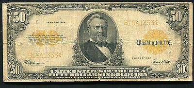 Fr. 1200 1922 $50 Fifty Dollars Gold Certificate Currency Note