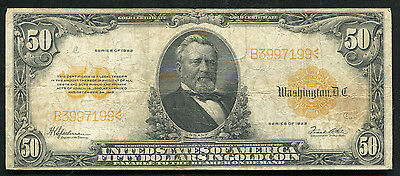 Fr. 1200 1922 $50 Fifty Dollars Gold Certificate Currency Note Fine