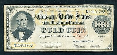 Fr. 1215 1922 $100 One Hundred Dollars Gold Certificate Currency Note Vf