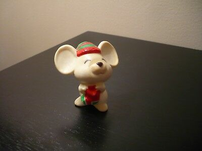 Vintage Hallmark Merry Miniature Christmas White Mouse with Stocking