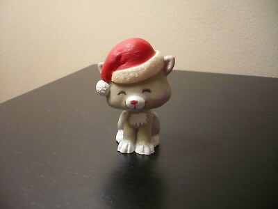 Vintage Hallmark Merry Miniature Christmas Kitten with Santa Hat with Gold Tag
