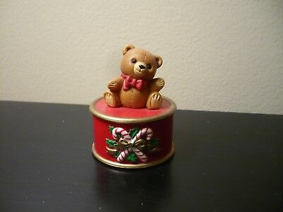 Hallmark Merry Miniature Christmas Ginger Bear on Candy Cane Container