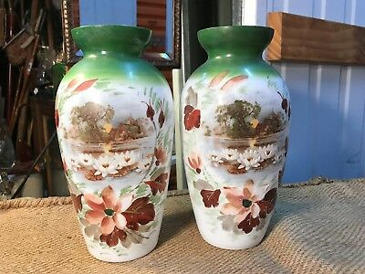 Pair of Antique Victorian English Hand Decorated Milk Glass Mantle Vases