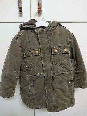 Mothercare Khaki Green Winter Coat Boys Aged 2-3 - very warm