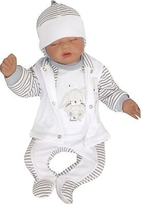 4 Tlg Set Baby Starterset First Outfit 50 56 62 68 100% Cotton Unisex Gray