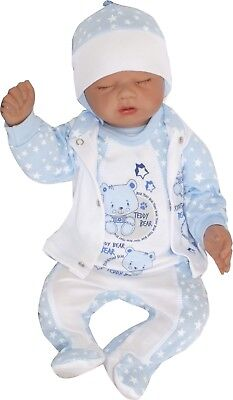 4 Tlg Set Baby Starterset First Outfit 50 56 62 68 100% Cotton Unisex Blue