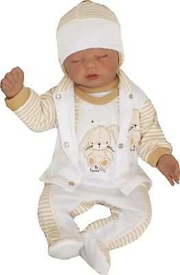4tlg Set Baby Starterset First Outfit 50 56 62 68 100% Cotton Unisex Beige