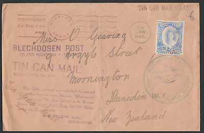 1938 Tin Can Mail Tonga Multiple Cachet Cover Addressed To Nz