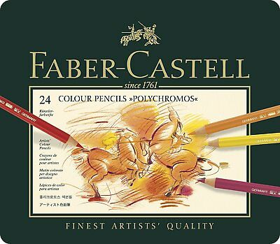 Faber-Castel Polychromos Colored Pencil Set In Metal Tin, 24 Pieces