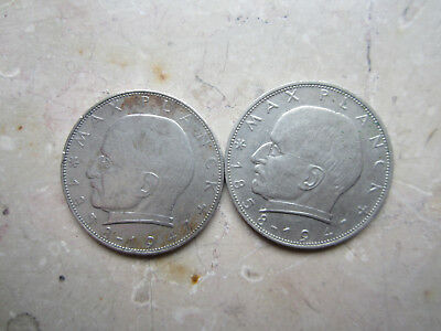 2x 2 DM Max Planck 1967 F + 1958 G Deutsche Mark