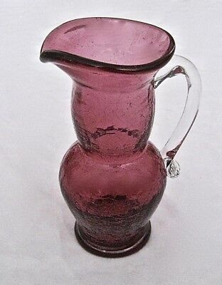 """Vintage Cranberry Red Glass Pitcher  Small 5 1/2"""" Tall"""