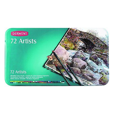 Derwent Artists Colored Pencils, 4mm Core, Metal Tin, 72 Count