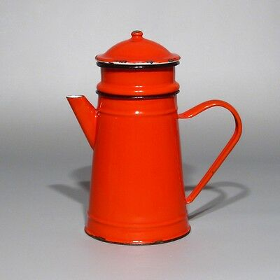 Vintage French Enamelware Red Enamel Coffee Pot, Stamped and Numbered