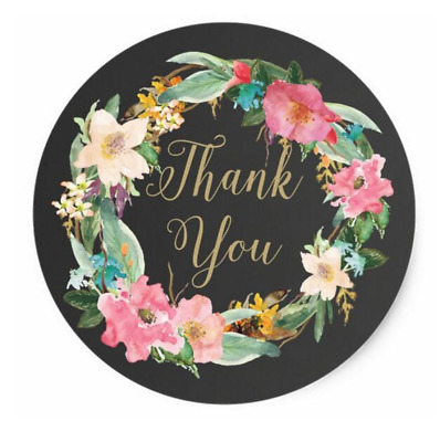 60 Thank You Stickers black floral Labels wreath Seals Wedding Party Favour card