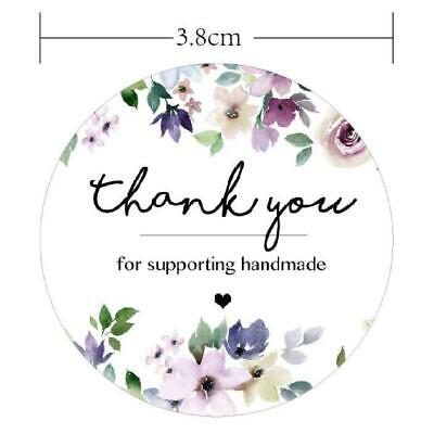 60 Thank You handmade Stickers white floral Labels wreath Seals card party