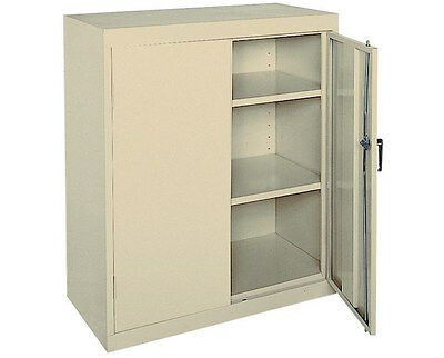 Cabinet Counter Height Storage Metal Locking  36 Inch Wide 42 Inch Tall Putty