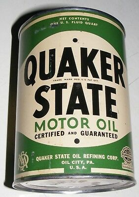 QUAKER STATE MOTOR OIL CAN Authentic VTG 1930-40s Empty OIL CITY PA U.S.A. L@@K