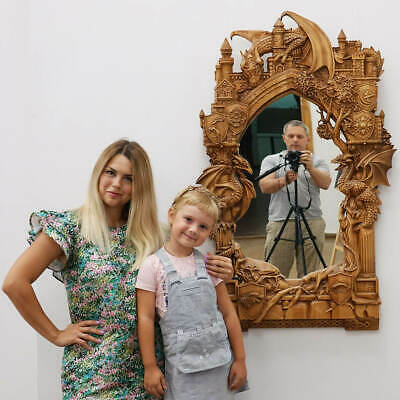 ✅Wood Carving 3D Artwork❤️️Frame Mirror-Game of Thrones✅picture painting icon