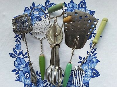 Collection of 5 Vtg Kitchen Utensils~Egg Beater,Fork, Spatula, Spoon, Soap Saver
