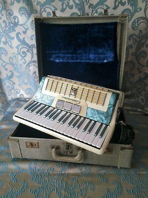 Vintage Italian Blue Pearl Camerano 120 Bass Accordian M355/94 with Case
