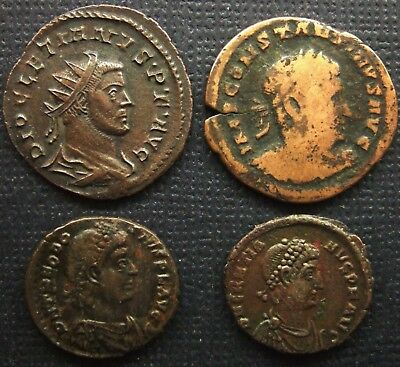 The Roman Imperial; Lot of 4 AE coins; various types.