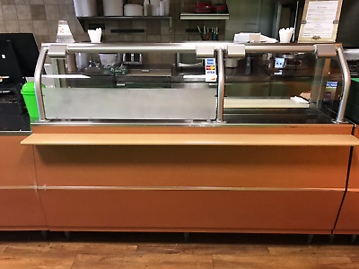 """Cold Serving Counter 74"""" Long with Sneeze Guard - Used"""