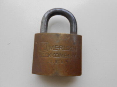 Vintage Brass American Lock Company Padlock NO KEY 2 1/4 inch overall